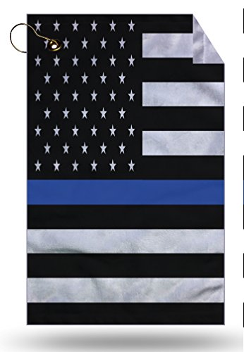 Moonlight Printing Blue Line Police Service Flag Microfiber Velour 11x18 Golf Bag Towel with Grommet and Clip