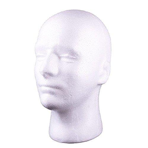 Bluelans Male Styrofoam Wig Head Mannequin Hats Glasses Foam Mannequin (White) (Male Heads)