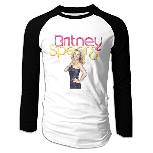 Creamfly Mens Britney Spears Poster Long Sleeve Raglan Baseball Tshirt (Britney Spears Toxic Costume)