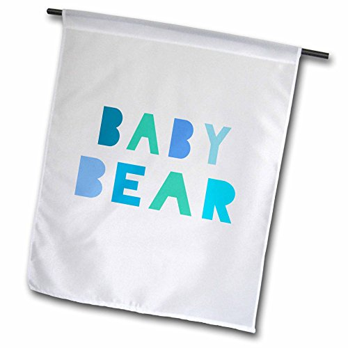 InspirationzStore Typography - Blue Baby bear - teal turquoise text and paw print for son or grandson - part of matching family set - 18 x 27 inch Garden Flag (fl_123170_2)