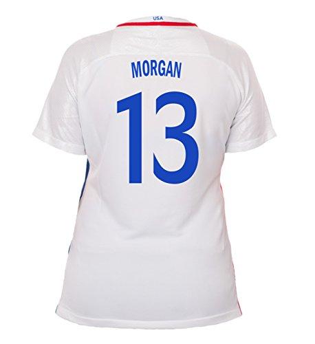 (Nike Morgan #13 USA Home Soccer Jersey Rio 2016 Olympics Women's (L))