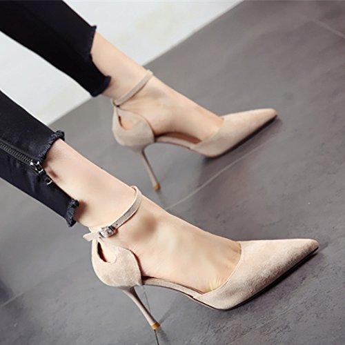 Moda de tacón Suede Superficial Fino YMFIE Hueco Elegante Sandalias y de Zapatos Dama b 5qn1g
