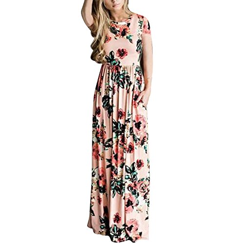 HOOYON Women's Casual Floral Printed Long Maxi Dress with Pockets(S-5XL),Pink Short,Small