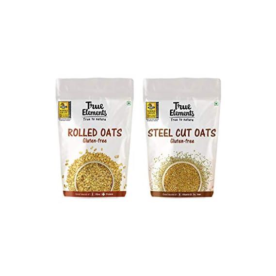 True Elements Breakfast Food 1kg - Rolled Oats 500gm & Steel Cut Oats 500gm