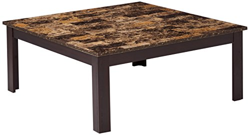 Monarch 3-Piece Cappuccino Square Table Set with Marble Top