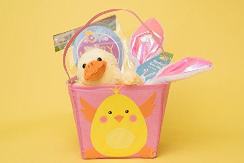 Boys and Girls Easter Basket with grass, stuffed animal, bun