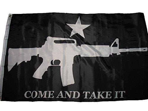 3X5 Ar-15 M4 Machine Gun Black Come And Take It Flag 3'X5' H
