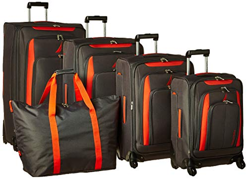 - Nautica 5 Piece Spinner Luggage Set with Tote, Grey/Orange