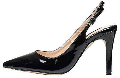 AnnaKastle Womens Pointy Toe Stiletto Heel Patent Slingback Pumps Dress Shoes Black rOVHglBvUP