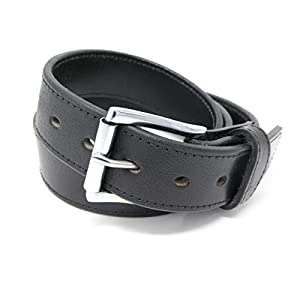 "DTOM Buffalo Tough Concealed Carry CCW Leather Gun Belt - 14 ounce 1 1/2 inch Premium Full Grain Buffalo Leather Belt - Handmade (Black Stitched, 38-For 34"" Waist Size - see sizing guide)"