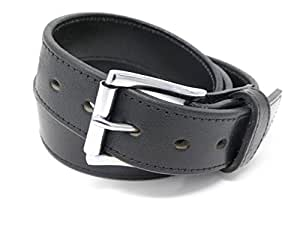 """DTOM Buffalo Tough Concealed Carry CCW Leather Gun Belt - 14 ounce 1 1/2 inch Premium Full Grain Buffalo Leather Belt - Handmade (Black Stitched, 40-For 36"""" Waist Size - see sizing guide)"""