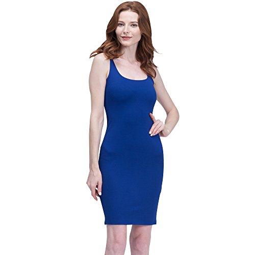 Back Tank Dress (BELLA PHILOSOPHY Women's Cotton Tank Basic Dress Highly Stretchy Slim Back Split£¨S,Blue£)