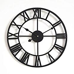 MUZIDP Retro Wall Clock,Wrought Iron Hollow Antique Living Room Office Round Classic Clock,Decorative Wall Clock-P 58cm