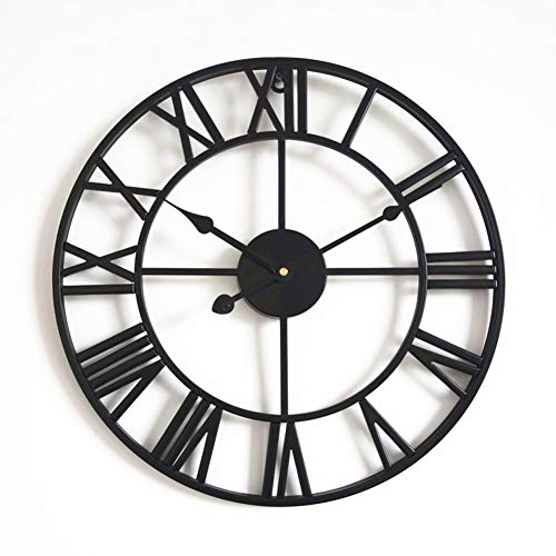 Large Metal Decorative Silent Wall Clock, Living Room Retro Fashion No Ticking Sound Quartz Clock Vintage Oversize 20 Inches-Black 24 Inch (60 cm)