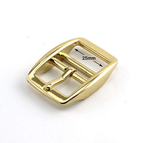 PZRT 2-Pack Mirror-Like Finished 1 Inch Tongue Buckle Light Gold Color Dog Collar -