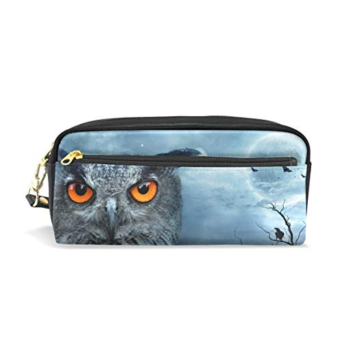 Top Carpenter Pencil Case Pouch Bag Angry Owl at Halloween for Makeup Office Student 1.7x0.75x0.5in