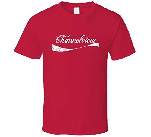 Channelview Texas Cola Parody City Distressed Worn Look T Shirt L Red