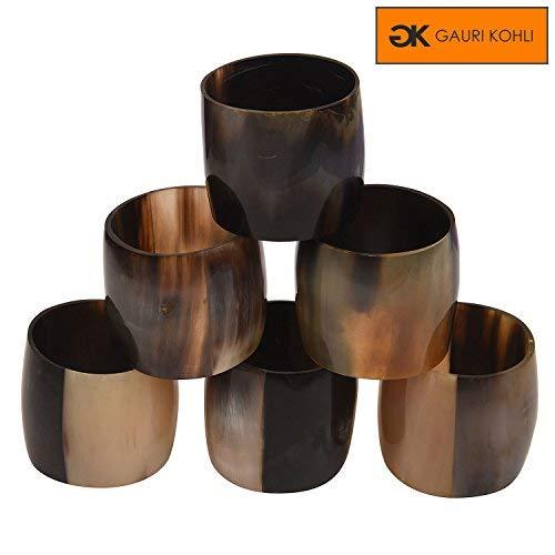Rondelles de serviette en corne de qualité supérieure GAURI KOHLI Dans Les Tons De Marrons Magnifiques | Design Elégant (Ensemble De 6)