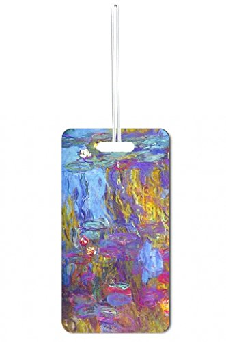 Claude Monet's Water Lilies 1917 Painting Print Design Lea Elliot Set of 5 Luggage Tags with Customizable (5 Piece Set Medium Arch)