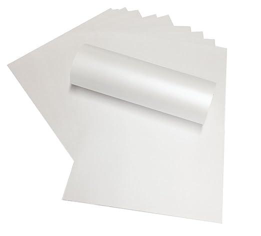 Paquete de 100 hojas de papel brillante de color blanco nacarado en tamaño A4, de doble cara, 120 g/m², adecuadas para impresoras láser y de inyección ...