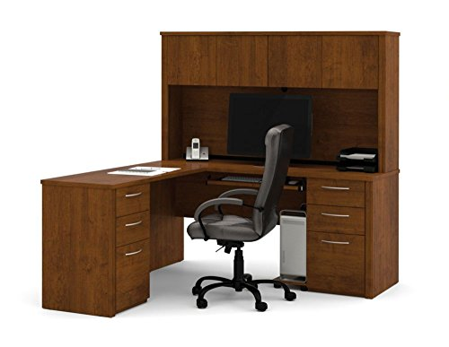 Bestar Office Furniture Embassy Collection Reversible L-Desk with Hutch, Tuscany Brown