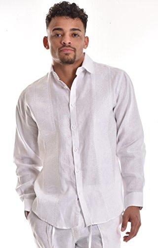 bohio Mens 100% Pure Linen White Paisley Embroidered L/S Shirt (S ~ 4XL)- MLS750-WHITE-M - Paisley L/s Shirt