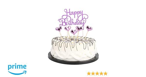 Amazon Purple Happy Birthday Cake Toppers Lettershappy Birthdayand Love StarParty Toys Games