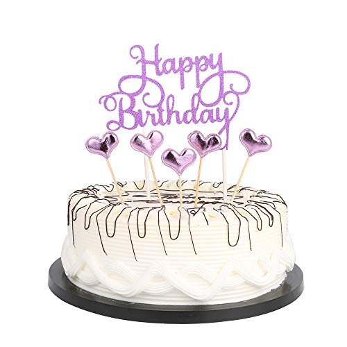 (Purple Happy Birthday Cake Toppers letters