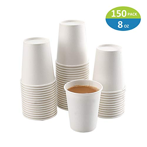 Paper Cups, 150 Pack 8 Oz Paper Cups, White Paper Coffee Cups 8 Oz Disposable White Hot Coffee Paper Cups Paper, 8 Oz Disposable Water Paper Cups Paper Water Cups, Coffee Cups Paper Cups Water Cups