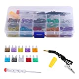 Auto Mini Blade Fuse Kit, 100pcs 2A 3A 5A 7.5A 10A 15A 20A 25A 30A 35A Auto Car Trunk Standard Assorted Replacement Fuses Set with Electrical Test Pen/Storage Box
