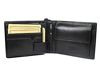 Nappa Leather Wallet Black Genuine Large Multiple Flaps
