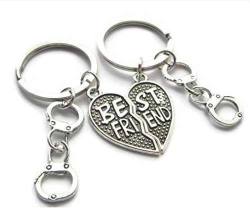 (Best Friends Keyrings ~ Partners In Crime Keychains, Sisters Keyring Set, Half Heart Pendants, Friendship Jewelry, Handcuff Gift For Sister)
