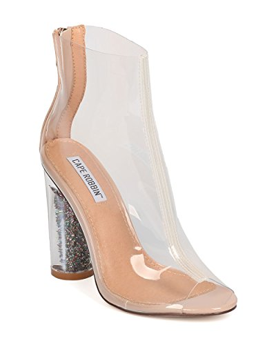CAPE ROBBIN Women Glitter Lucite Heel Bootie - Cosplay, Party, Dressy - Block Heel Ankle Boot - GD05 by Transparent
