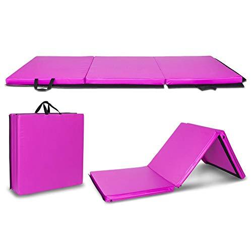 Lijuan Qin 6'x2'x2 Tri-fold Tumbling Exercise Gym Mat with Carry Handles, Aerobics Yoga Workout Gymnastics Mat for Aerobics, Yoga, Stretching, MMA