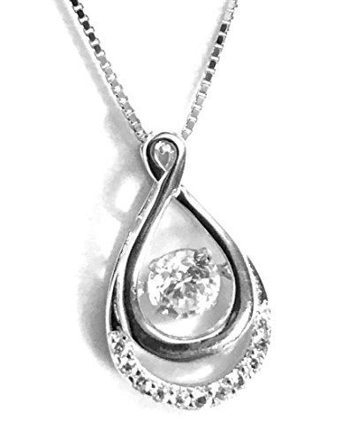 ing Diamond Pave Open Tear Drop Pendant Necklace Cubic Zirconia CZ (1/2 ctw) 18in Box Chain with Anti-Tarnish Cloth for Women or Teen (Diamond Teardrop Pendant Chain)