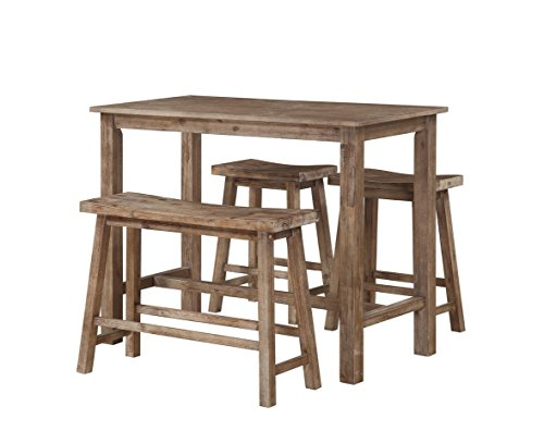 Boraam 75027 4 Piece Sonoma Pub Table Set, Neutral Driftwood Gray Finish