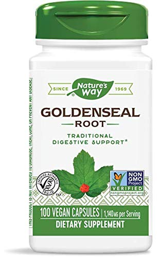 Nature's Way Premium Herbal Goldenseal Root, 1,140 mg per serving, 100 Capsules (Packaging May Vary) (Goldenseal Root 90 Capsules)