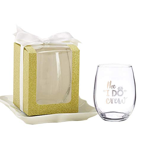 Kate Aspen Gold 9 oz. Glassware Gift Box (36 Boxes) - Wedding Favor or Party Favor Accessory for Bridal Showers, Baby Showers or Birthdays. Stemless Wine Glass Sold Seperately