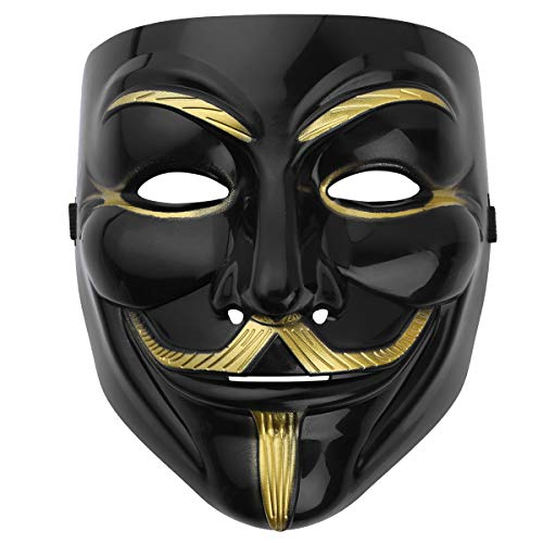 iEFiEL Anonymous Vendetta Mask Guy Fawkes Halloween Masquerade Party Carnival Face Costume Black One Size ()