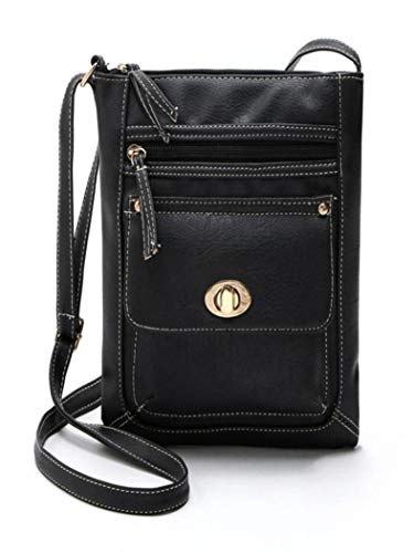 Body Shoulder Black Bag Kanpola Leather Satchel Cross Black Messenger Womens qF4wHgI