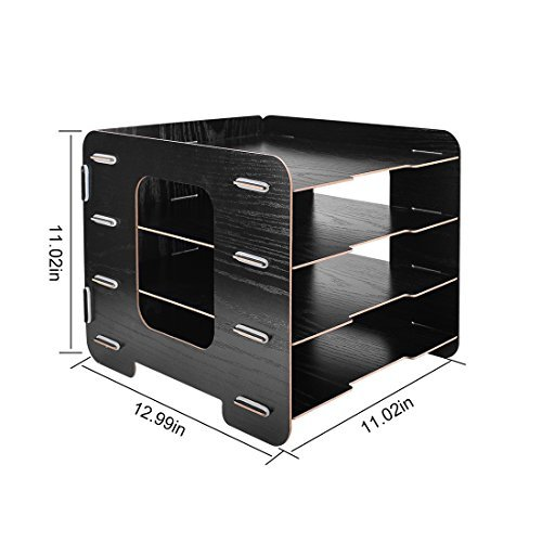 4 Trays Sorter Rack, OffKits Wood Desktop Document Organizer File Holder Wood Compartment Storage Rack Easy Assembly (Black) by OffKits (Image #5)