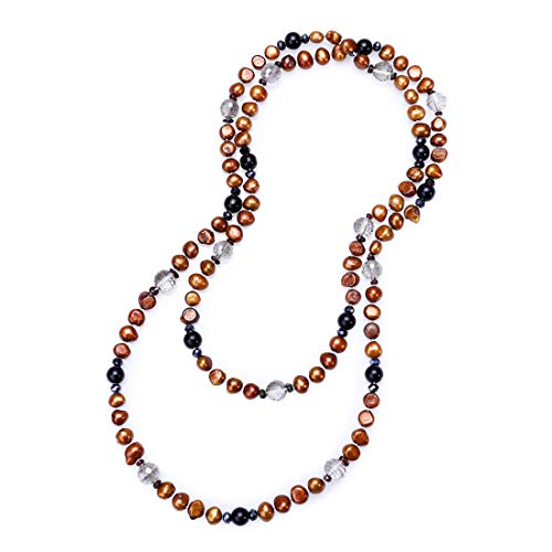 PEARLADA Handmade Red Bronze Baroque Freshwater Cultured Pearl Necklace Long Beaded Necklace Women Jewelry ()