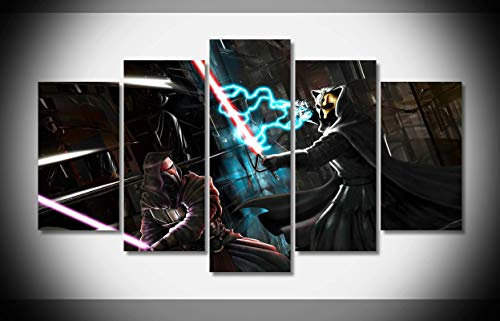 My Canvas Art 5pcs Star Wars Knights of the Old Republic Darth Revan Darth Nihilus Art Battle Sith Lightsabers Artwork Prints for Living Room Home Decoration Framed Ready to Hang ()