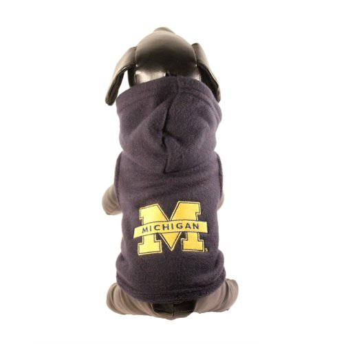 NCAA Michigan Wolverines Collegiate Polar Fleece Hooded Dog Jacket, Small Collegiate Polar Fleece