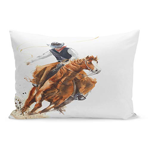 Semtomn Throw Pillow Covers Rodeo Cowboy Riding Horse Ride Calf Roping Watercolor Painting Western Cartoon Pillow Case Cushion Cover Lumbar Pillowcase for Couch Sofa 20 x 36 inchs
