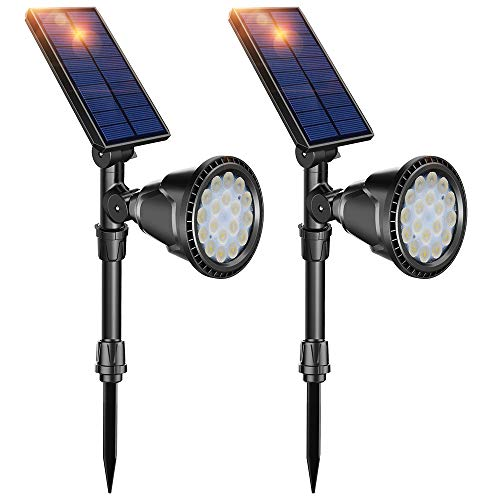 Cheap DBF Solar Lights Outdoor, Latest 18 LED Waterproof Solar Spotlights Solar Landscape Lights Auto On/Off Wall Security Lighting for Garden Pathway Pool Driveway Patio Yard, Pack of 2 (Cool White)