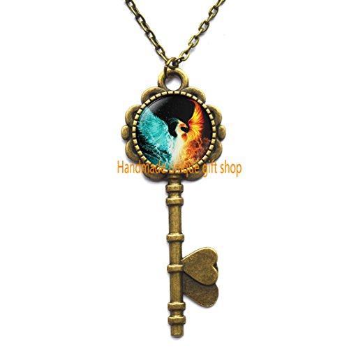 - Fire and Water Key Necklace,Firebird Jewelry, Phoenix Key Pendant, Phoenix Art Key Necklace, Phoenix Hand drawing.TD085 (C)