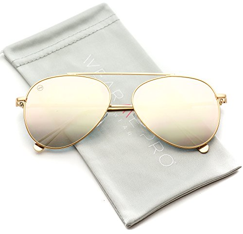 WearMe Pro - Top Wire Bridgeless Bar Modern Aviator Pilot Style Sunglasses (Gold Frame / Mirror Pink Lens, - Aviator Sunglasses Gold