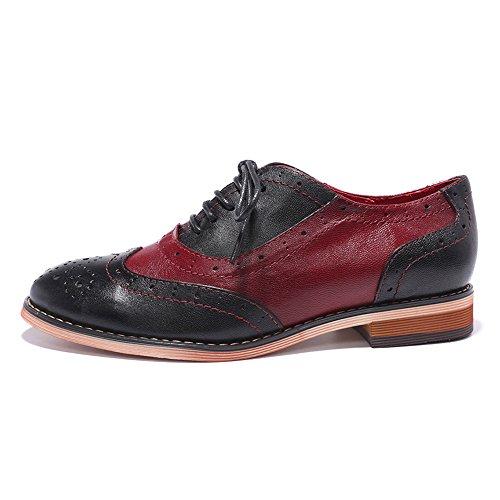 Mona Flygande Kvinna Läder Perforerade Spets-up Oxfords Skor För Kvinnor Vingspets Multi Brougue Skor Svart-röd