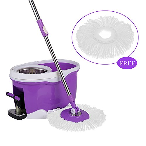 IKAYAA Easy Wring 360 Rolling Spin Mop with 2 Microfiber Mop Heads, Foot Pedal Floor Mop Bucket Set